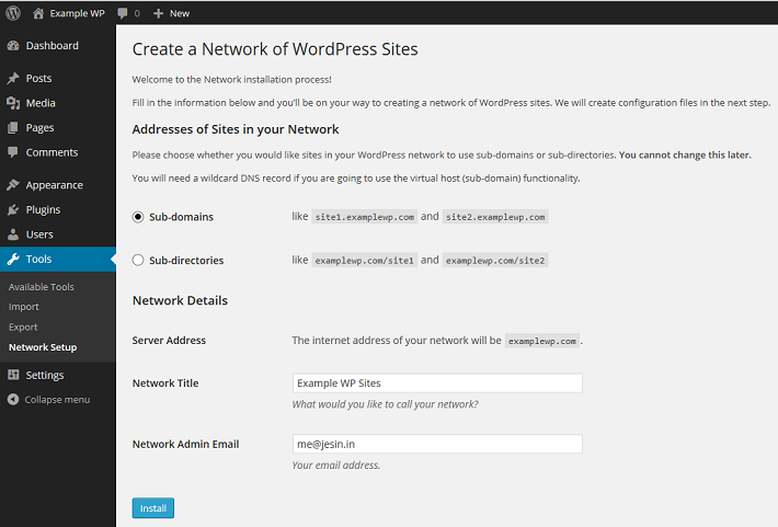 WordPress Network Setup